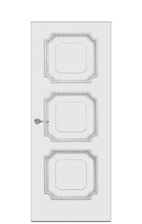 Doge-3D Interior Door in Antique Silver
